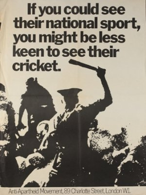 Poster protesting against the planned 1970 Springboks cricket tour of England and Wales. The tour was called off after widespread protests. This image was provided by the AAM Archives Committee. Source: africanactivist.msu.edu
