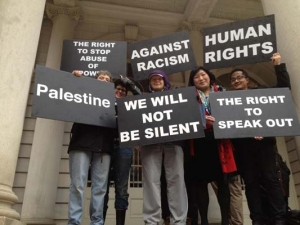 BDS activists call on elected of cials to Stop Blocking New Yorkers from boycotting Israel and its human rights abuses, December 2013 (Source: psfcbds.wordpress.com)