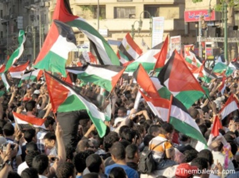 Palestinian flags flying in Tahrir Square, Cairo during May Day celebrations (Source: 3arabawy.com)
