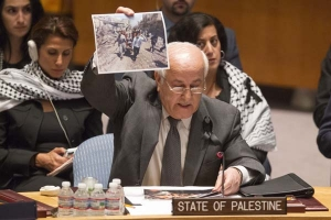 Statement by Ambassador Dr. Riyad Mansour before the United Nations Security Council Open Debate on the Situation in the Middle East, including the Palestine Question, 22 July 2014 (© palestineun.org).