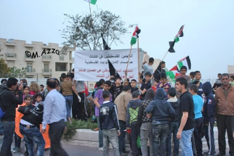 Demonstrators calling Palestinians in the diaspora to vote for the Palestinian National Council. Bethlehem, Palestine, March 2013 (© M. Azza).