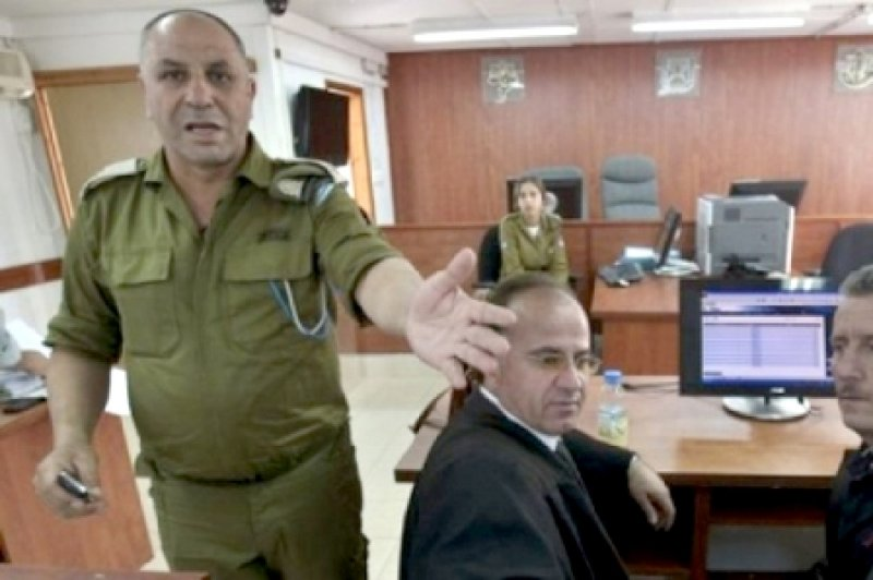 Ofer Military Court trial of a Palestinian human rights activist on 12.3.2013. (Source: jbcnews.net).