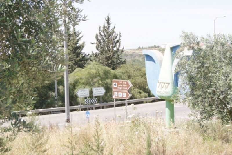 Road sign and JNF symbol signalling the entrance of a JNF park
