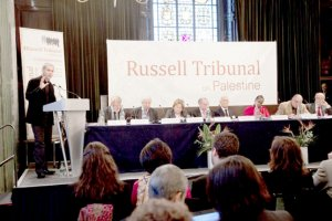 "London session of the Russel Tribunal on Palestine."" Corporate Complicity in Israel's violations in international human rights law and international humanitarian law"". (©Kristian Buus/Russel Tribunal)"