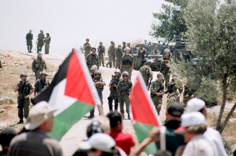 Palestinians and International Solidarity members during the weekly protest against the Apartheid Wall on the land of Ni'lin, Ramallah, West Bank. October 2009 (photo: Hindi Musleh/BADIL)