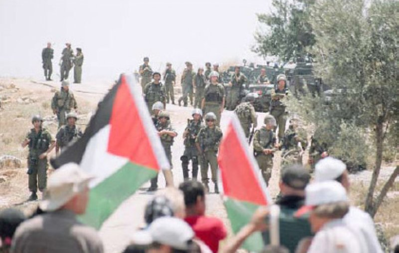 Demonstration against the confiscation, settlement, construction and Israe's Wall in the Palestinian village of Bil'in